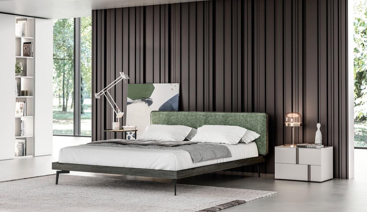 GINEVRA, Elegant bed with upholstered headboard