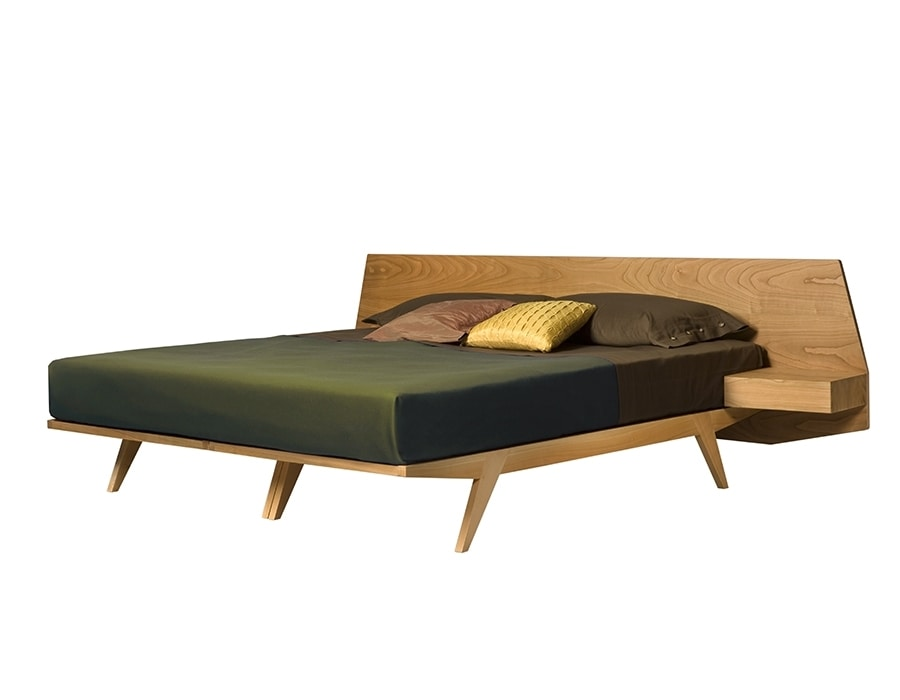 Giò 2887, Wooden bed with integrated bedside tables