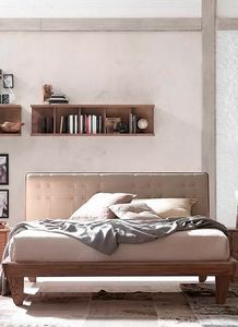 Glam, Wooden bed, with upholstered headboard