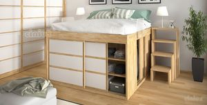 Impero with cabinet, Space-saving bed with cabinet with doors