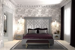 Intrigue Bed with 3 vertical panels, Bed with headboard with 3 panels, with geometric motifs