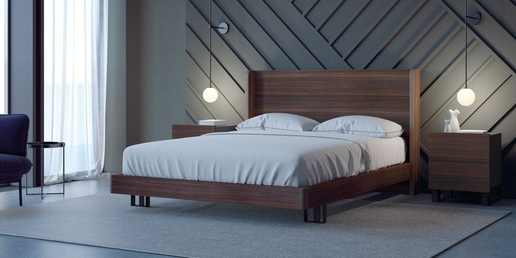 Bed With High Headboard And Frame In Eucalyptus Wood Idfdesign