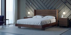 Ironwood Belt bed, Bed with high headboard and frame in Eucalyptus wood