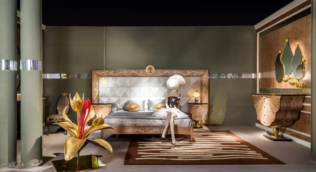 LE25K Metamorfosi bed, Bed with large headboard decorated by hand