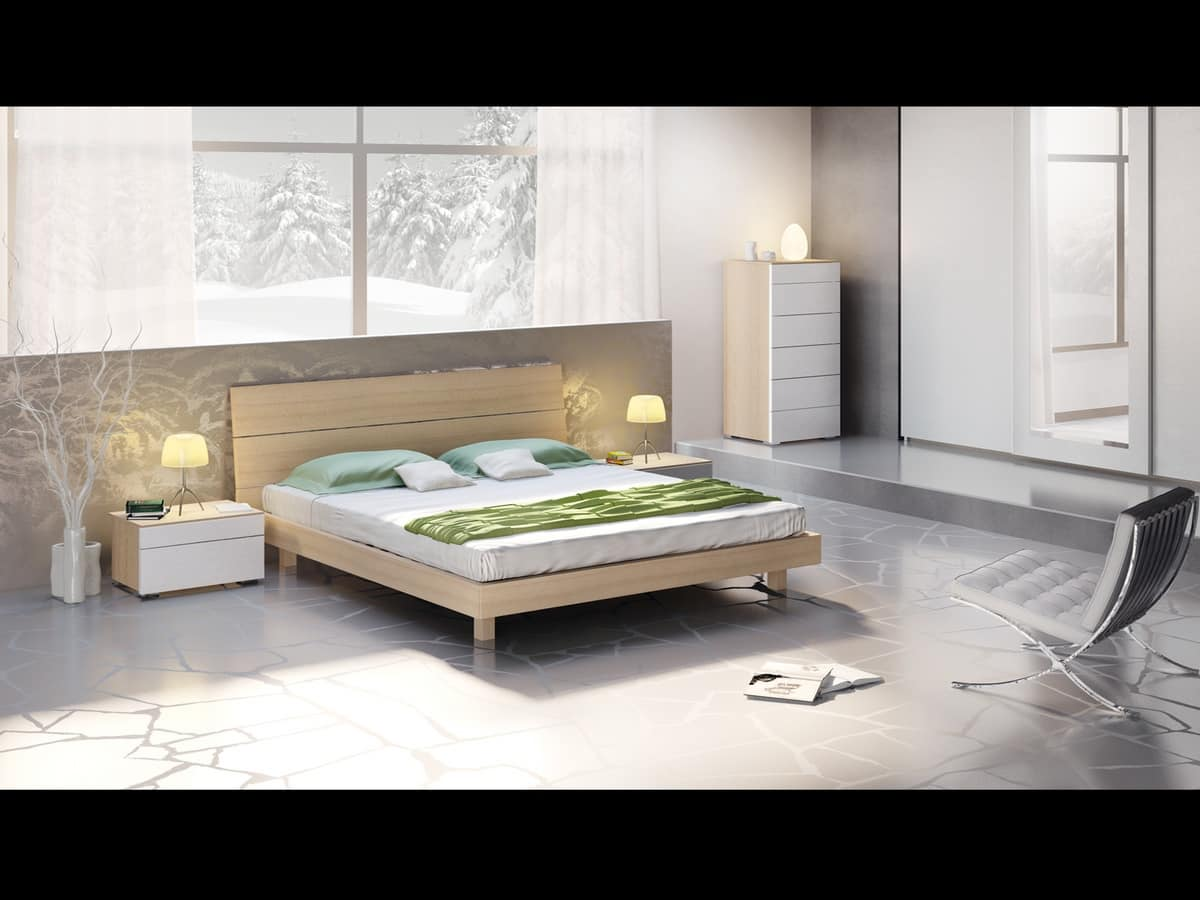 Bed Design 01, Bed with headboard and bed frame wood, modern style.