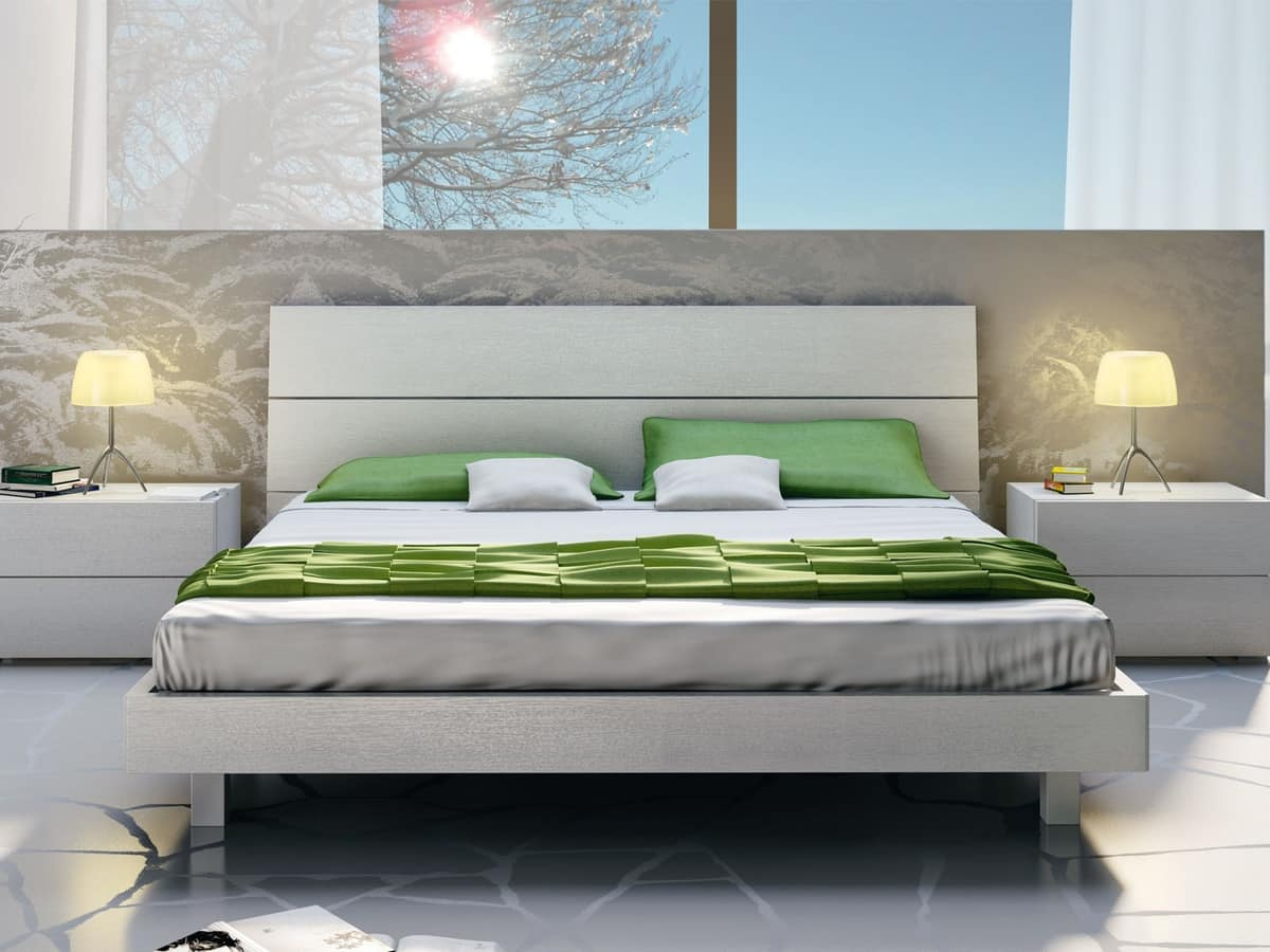 Letti Design.Wooden Double Bed In A Linear Style Idfdesign