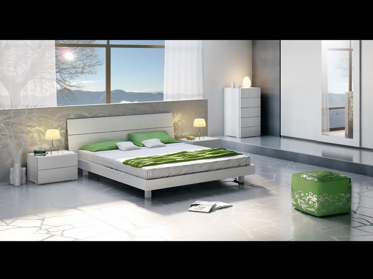 Bed Design 09, Wooden double bed, in a linear style