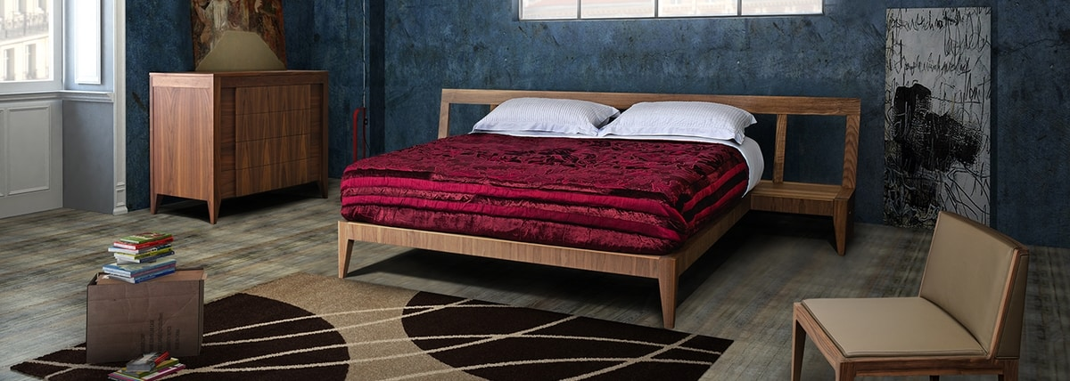 Magic Dream 2889/F, Wooden bed with bedside tables integrated in the headboard