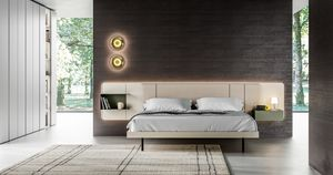 MILANO, Bed with bedside tables integrated into the headboard