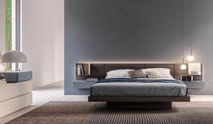 MIRANDA, Bed with integrated bedside tables