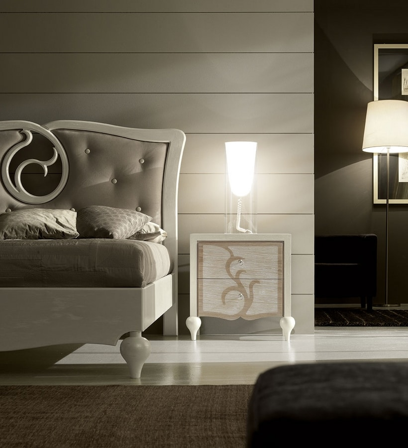 New Age Art. NA015, Bed with elegant decoration on the headboard