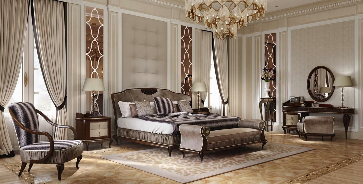 New York bed, Bed in wood, with upholstered headboard