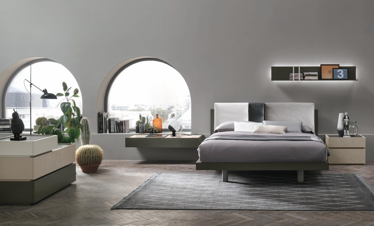 Nikki, Wooden bed with upholstered headboard