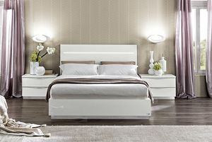 Onda bed, Bed in white lacquered wood