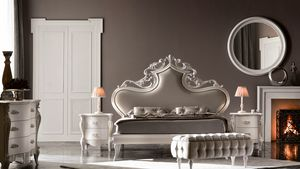 Queen Art. 948, Refined bed with carved headboard