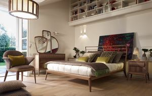 Ribot bed, Bed with headboard decored with horizontal slats
