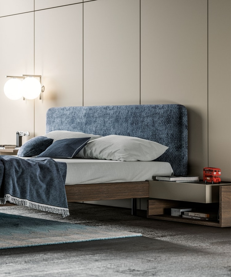 SIBILLA, Oak bed, with upholstered headboard