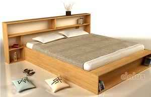Slim, Space-saving bed with storage headboard