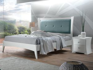 Vela bed, White wooden bed