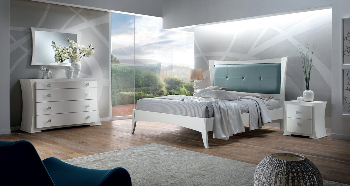 Vela bed, White wooden bed