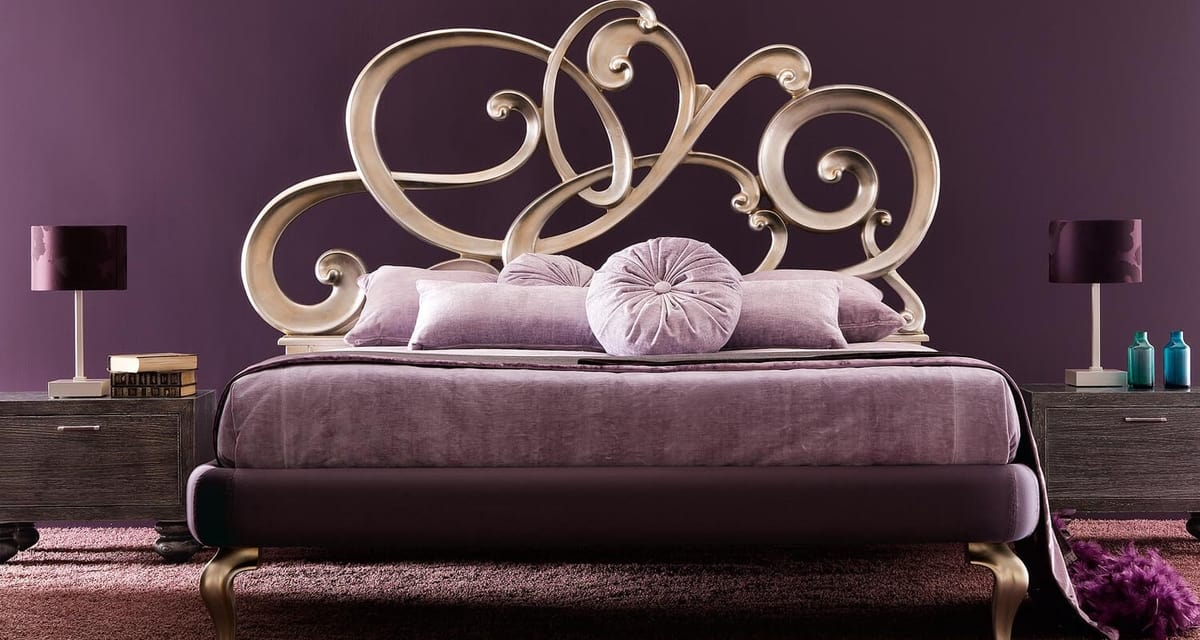 Viola Art. 930, Bed with carved headboard in solid wood volutes