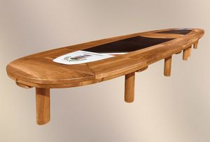 190, Extendable meeting table, with leather top