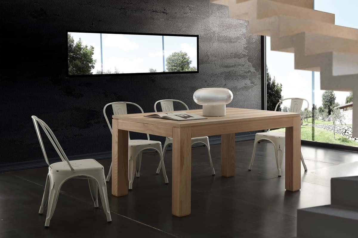 Art. 691 Contemporaneo, Dining table, extendable, in olive ash finish