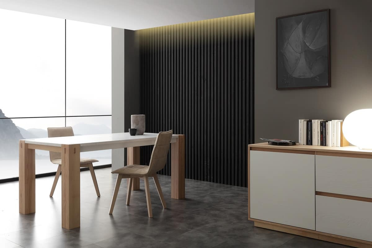 Art. 694BL Factory Bicolor, Table with a contemporary design, solid wood, with lacquered top