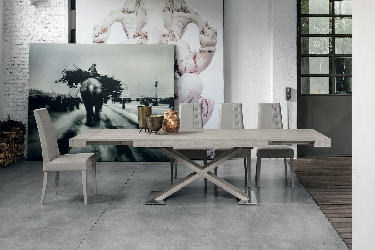 ASTERION TA194, Extensible table, laminate structure, top and side extensions