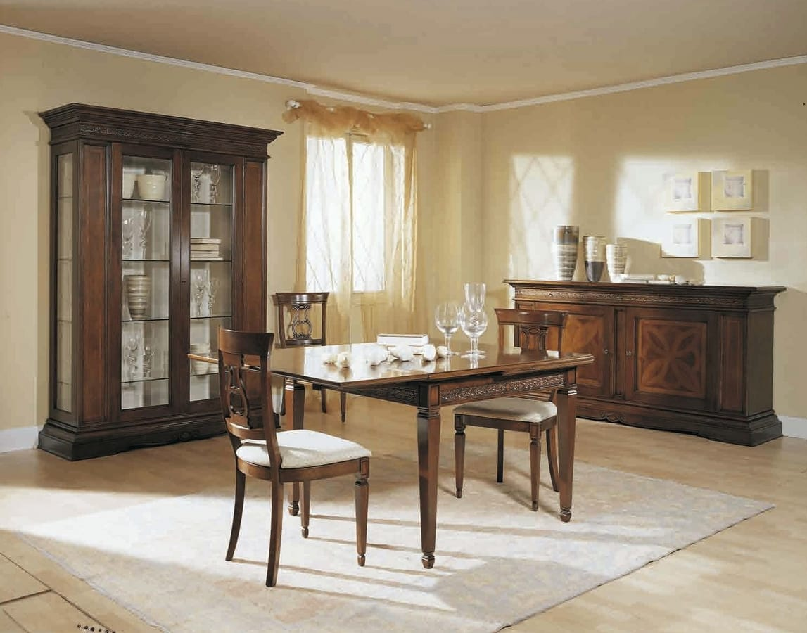 Caravaggio table, Classic table with snap extensions