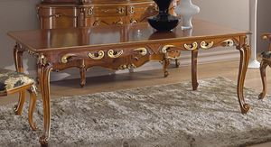 Chippendale extendable rectangular table, Classic style extendable table