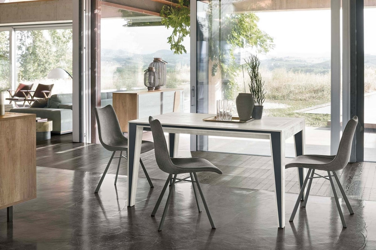 EXODUS 140 TA511, Extendable table in laminate and inserts in metal sheet
