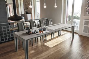 EXODUS 180 TA510, Extendable table in laminate, with decorations in metal sheet