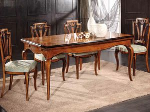 Gabriel table, Extendable table in wood decorated by hand