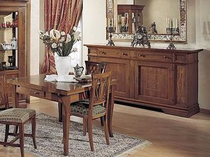 Giotto table, Extendable table in wood, with drawer