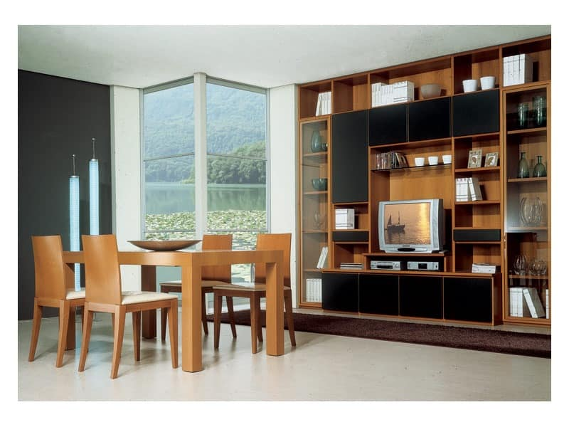 Living room 2, Wooden table with extension, modular bookcase with tv stand, for the furnishing of the living room