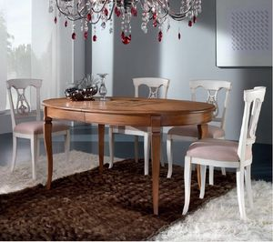 Mirto oval table, Extendable table with inlaid top