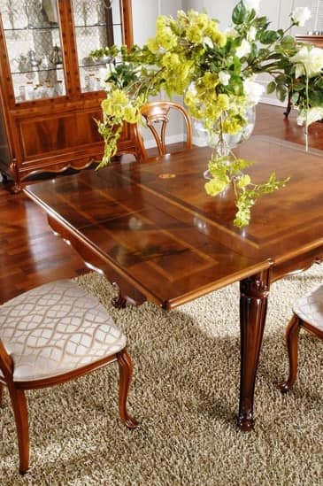 OLIMPIA B / Rectangular table, Classic table in carved wood, for Dining Room