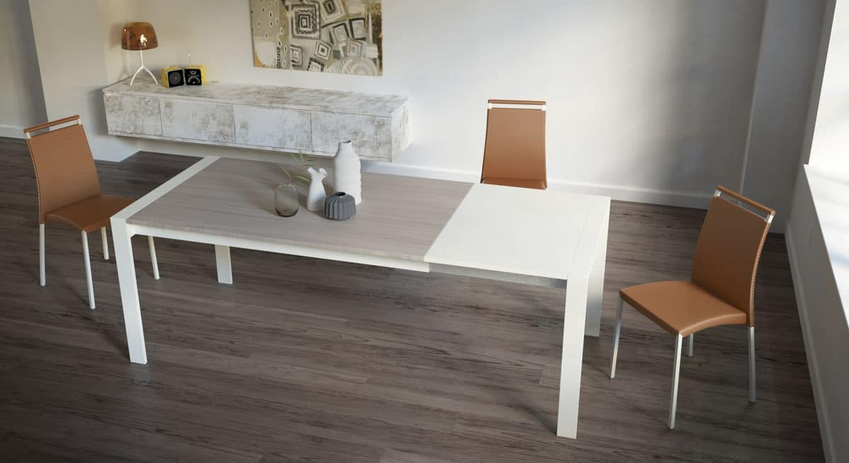 Oliver, Rectangular extendable table for modern kitchens