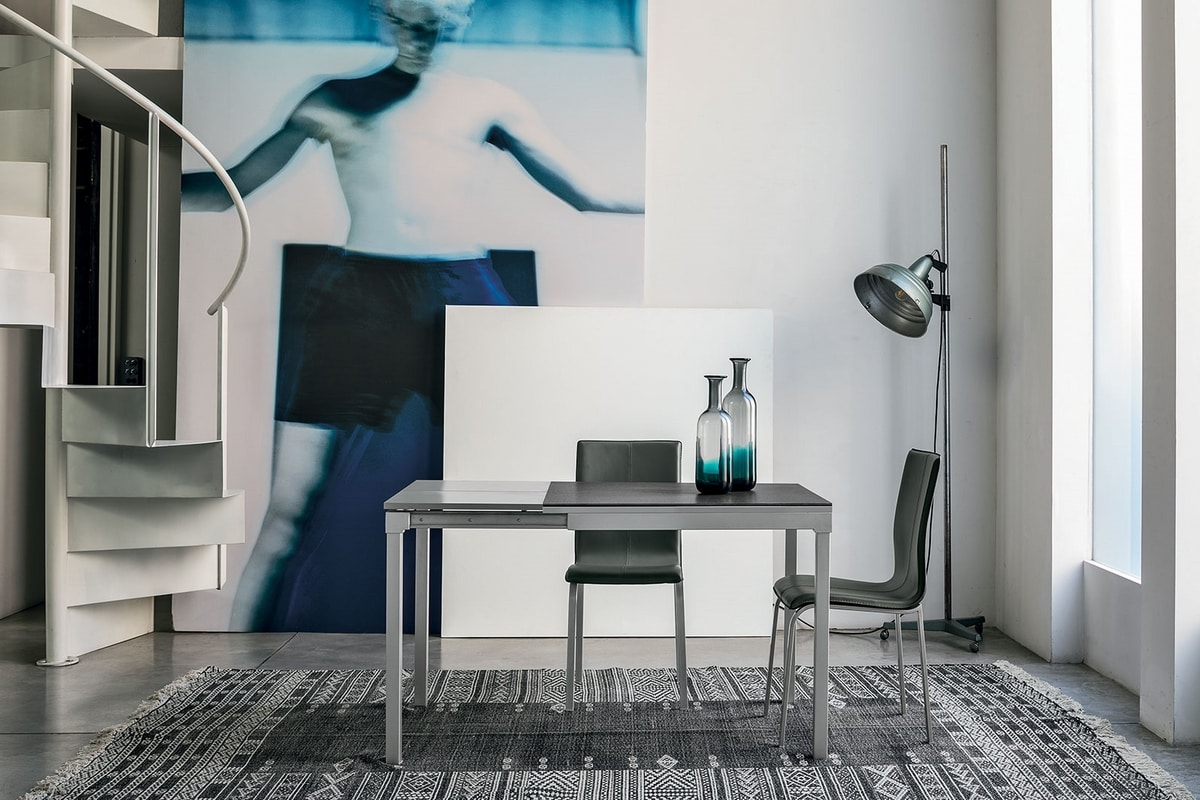 PERIGEO 85 TA159, Extendable table in metal, laminate top, modern