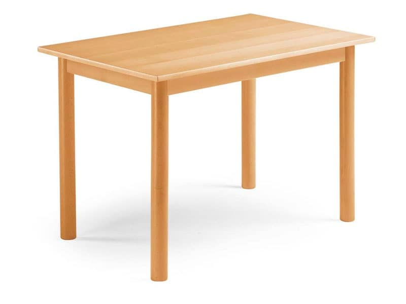 Pisa, Extendable table in beech, with cylindrical legs