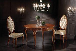 Princes tavolo tondo allungabile, Dining table in wood, with extendable top