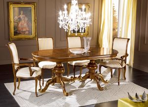 Regency oval extendable table, Classic style dining table