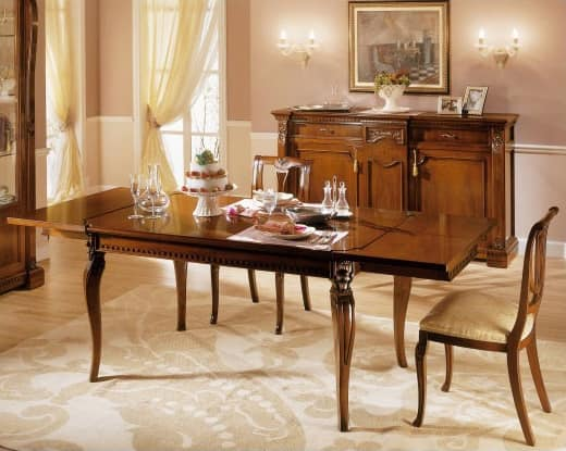 REGINA NOCE / Rectangular table, Extendible wooden table, for Traditional dining rooms