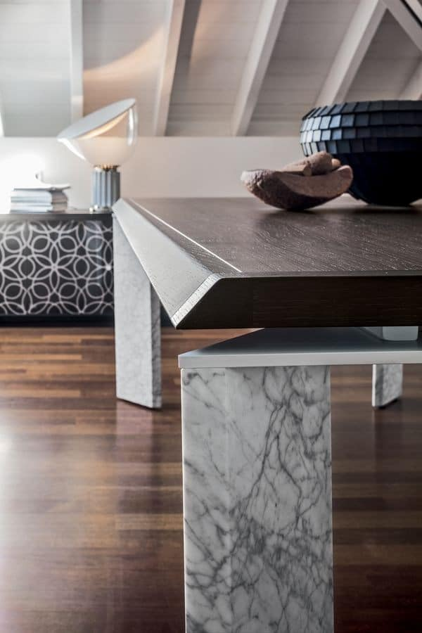 ROMA, Fixed table in wood or marble, with wooden top