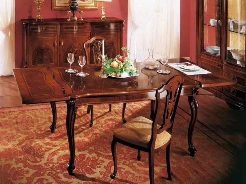 ROYAL NOCE / Extensible table, Squared classic table with extension for dining rooms