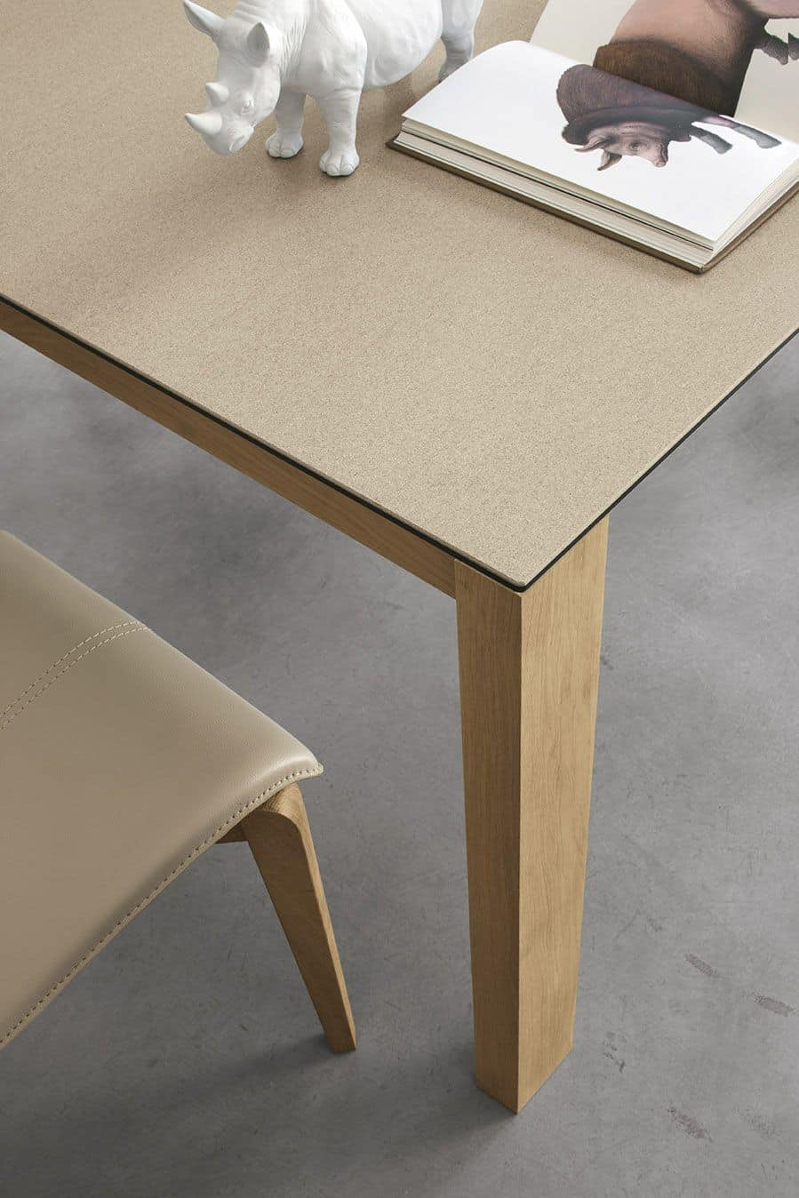 SOLE 140 WOOD TA180, Table with solid wood legs, with extendable top, for home funrishing