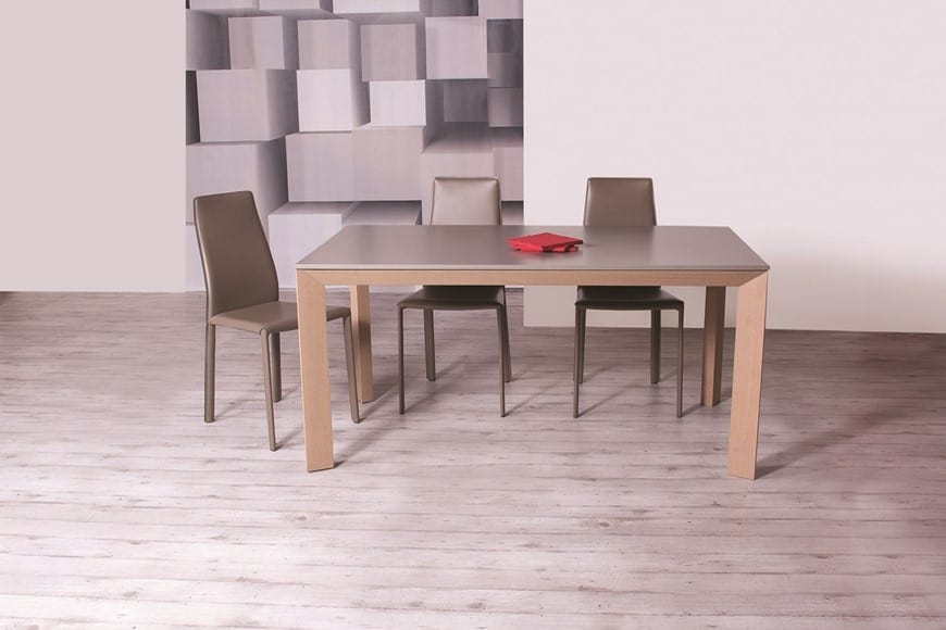 Storm Wood, Extendable Wooden Dining Table With Triangular Legs