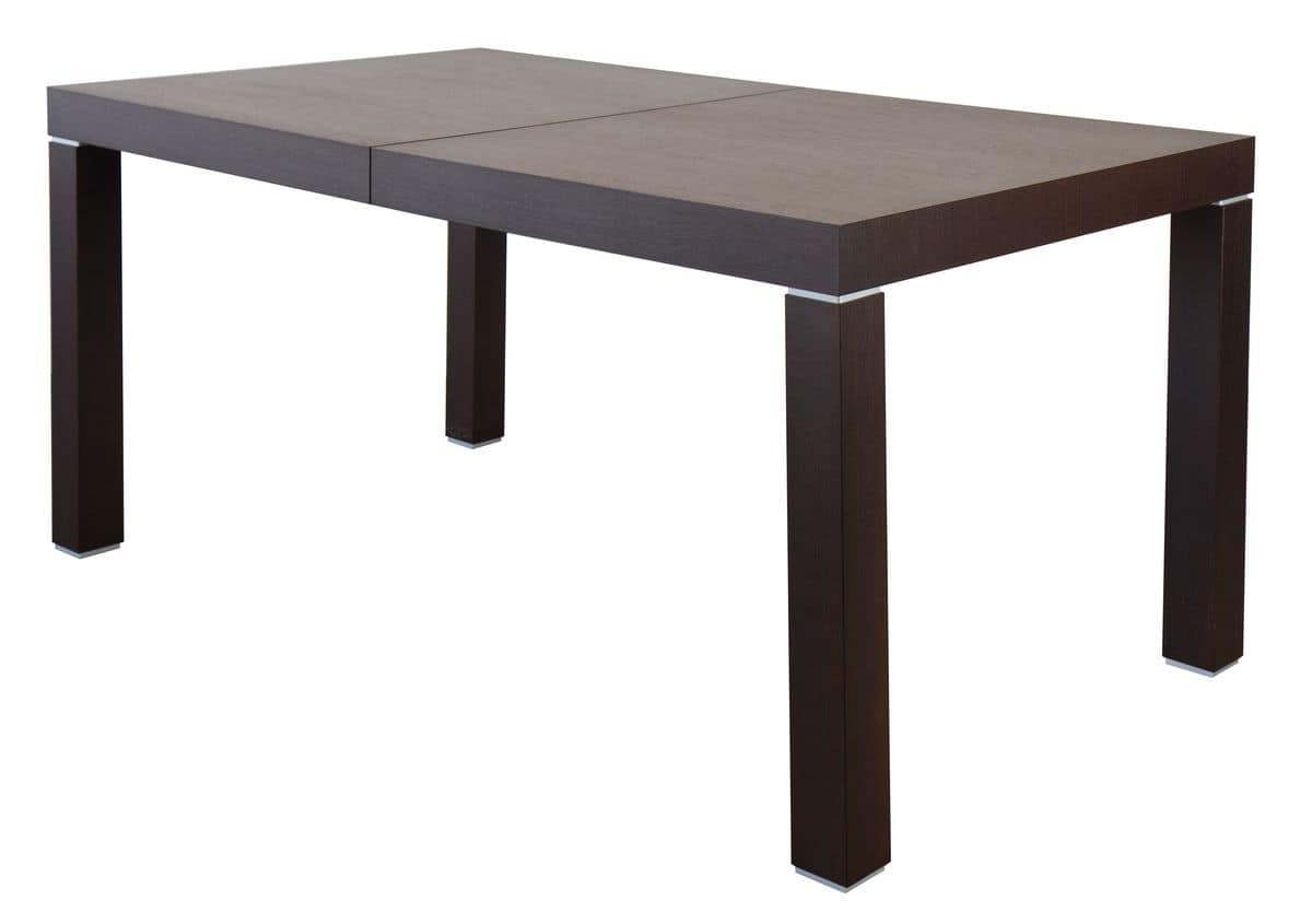 TM07, Extendable rectangular table, in wood with metal inserts
