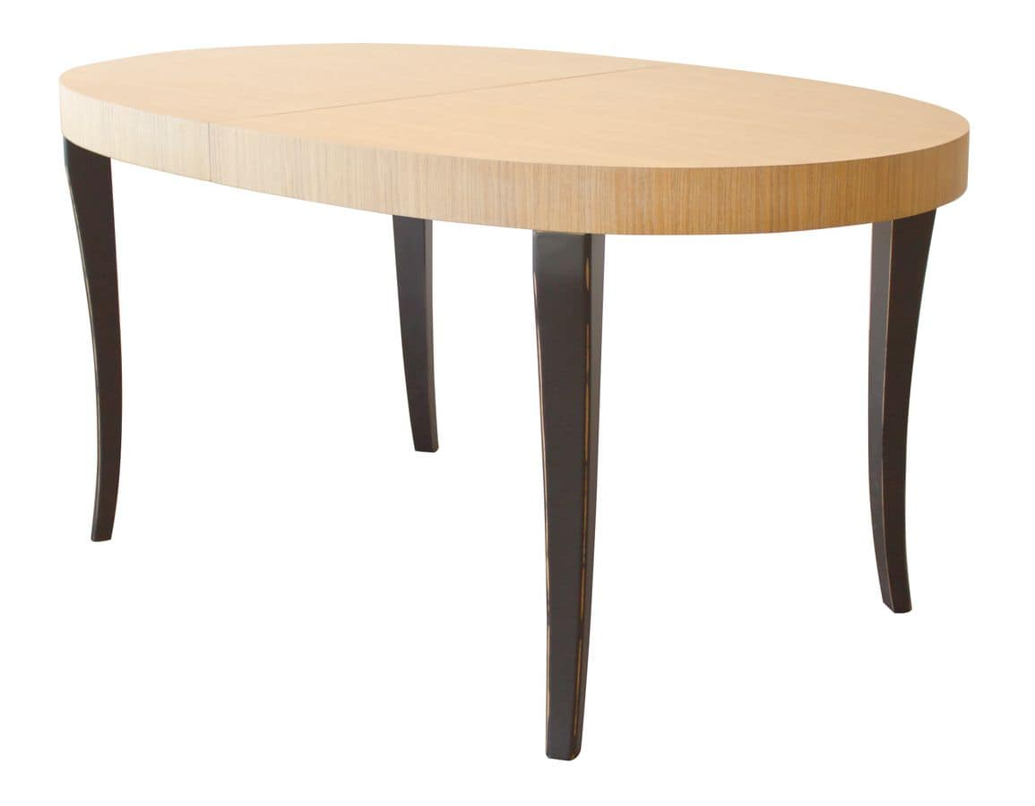 TA16, Extendable two-colour oval table, beech legs and oak veneer top